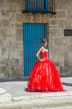 Cuban woman with red dress Stock Images