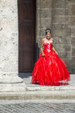 Cuban woman with red dress Stock Photos