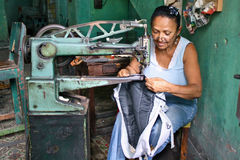 Cuban Woman Sewing stock photos