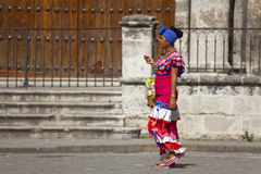 Cuban woman with traditional costum stock images