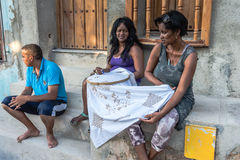 Cuban Women - Hand Embroiderers Royalty Free Stock Photography