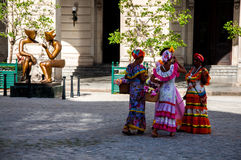 Cuban women in traditional dresses Royalty Free Stock Images