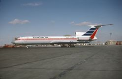Cubana图波列夫与别的TU-154M CU-T1264满载哈瓦那的乘客 免版税库存图片