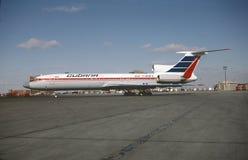 Cubana Tupolev Turkije-154M Cu-T1264 met een andere volledige lading van passagiers voor Havana Royalty-vrije Stock Afbeelding