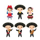 Cubans boy and girl in national costume and hat. Cartoon children in traditional Cuba dress, Mariachi group Musical instruments. Guitar, viola, violin, trumpet vector illustration