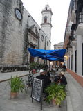 CUBANS IN ONE CAFE NEAR HAVANA CATHEDRAL, CUBA Stock Photos