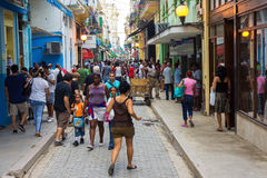 Cubans in the popular Obispo street in Havana Stock Photography