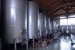 Cubas de aço inoxidável do vinho em seguido Imagem de Stock Royalty Free