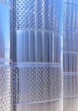 Cubas de la fermentación del vino del acero inoxidable en un lagar Foto de archivo libre de regalías