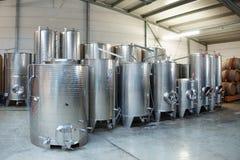 Cubas del acero inoxidable de la fermentación Imagen de archivo libre de regalías