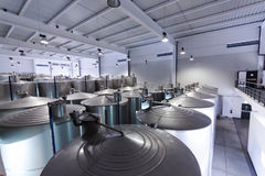 Cubas del acero inoxidable para el vino de la fermentación Imagen de archivo libre de regalías