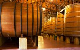 Cubas del vino del roble, La Rioja Foto de archivo libre de regalías