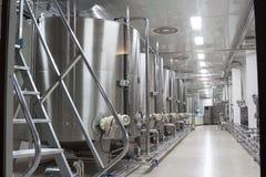 Cubas grandes del metal para la fermentación de la fábrica del vino Fotografía de archivo