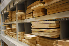 Cubbies of cut lumber. Different sized cut lumber in cubbies Stock Images