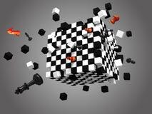 Cube éclaté en échecs sur le fond gris Photo libre de droits