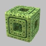 Cube étranger en fractale Photographie stock