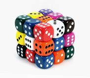Cube. Of colorful gaming dices over white background Stock Image