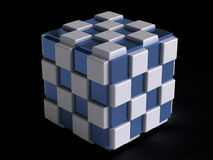 Cube. Abstract computer generated blue and white cube Royalty Free Stock Photography