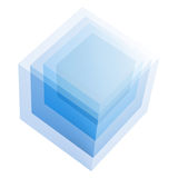 Cube. The picture shows a blue cube isolate background Royalty Free Stock Photography