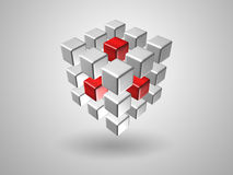 Cube. Red and silver cube Royalty Free Stock Photo