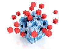 Cube 3d abstrait se réunissant à partir des blocs sur le blanc Photographie stock