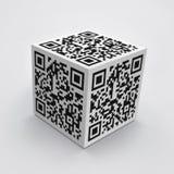 cube 3D avec le code de QR Photos libres de droits