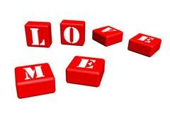 Cube 3d en amour Photos libres de droits