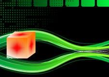cube 3d et ondes Photographie stock libre de droits