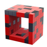 Cube 3d futuriste rouge d'isolement Photo stock
