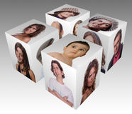 Cube. With casual portraits on white Royalty Free Stock Photos