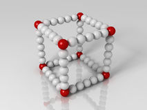 Cube. 3d generated illustration of cube builded with red and white balls Royalty Free Stock Photos