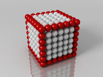 Cube. 3d generated illustration of cube builded with red and white balls Stock Image