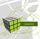 Cube on abstract background. Illustration of a cube with space for text insertion Stock Image