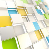 Cube abstract copyspace background. Made of orange, blue, green glossy shiny plates royalty free illustration