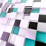 Cube abstract copyspace background. Made of black and blue glossy shiny plates vector illustration