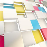 Cube abstract copyspace background. Made of cmyk colored glossy shiny plates stock illustration