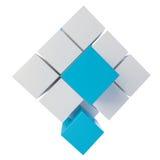 Cube abstrait se réunissant à partir des blocs Images stock