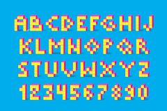Pixel retro video game font. Cube alphabet. Pixel retro video game font. 80 s retro color alphabet font. 8 bit letters and numbers typeface. Cube vector Stock Image