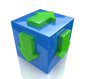 Cube with arrows. At registration information associated with the idea and direction Royalty Free Stock Images