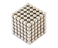 Cube assembled from metallic balls. Cube assembled from little metallic balls isolated on white vector illustration