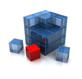 Cube assembling. Illustration of 3d cube built with blocks, and one red block Stock Images