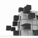 Cube assembling from blocks. Computer generated image stock illustration