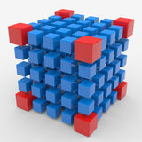 Cube assembling from blocks Royalty Free Stock Photography