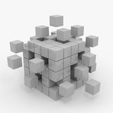 Cube assembling from blocks. Computer generated image royalty free illustration