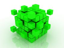 Cube assembling from blocks. Abstract 3d illustration of cube assembling from blocks Royalty Free Stock Photo