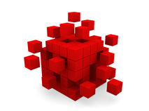 Cube assembling from blocks Stock Photos