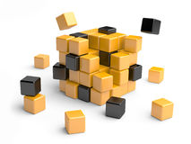Cube assembling from blocks. Royalty Free Stock Image