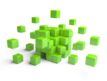 Cube assembling from blocks. Royalty Free Stock Photo