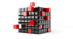 Cube assembling from blocks Stock Photography