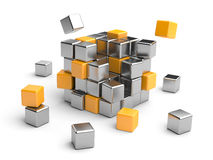Cube assembling from blocks. 3D Illustration isolated on white Royalty Free Stock Photos